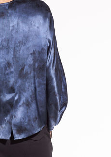 Vince Watercolor Marble Silk-Satin Blouse
