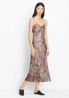 Watercolor Print Silk Slip Dress