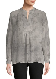 Vince Watercolor Shirred Silk Blouse