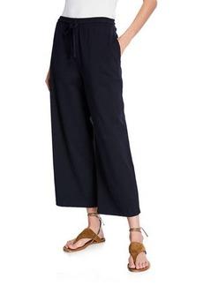 Vince Wide-Leg Cropped Cotton Drawstring Pants