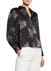 Vince Woodblock Floral Button-Front Blouse