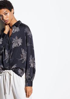Vince Woodblock Floral Silk Blouse