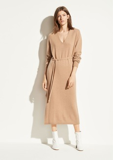 Vince Wool Cashmere V-Neck Dress