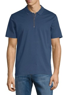 Vince Zip Short-Sleeve Cotton Polo