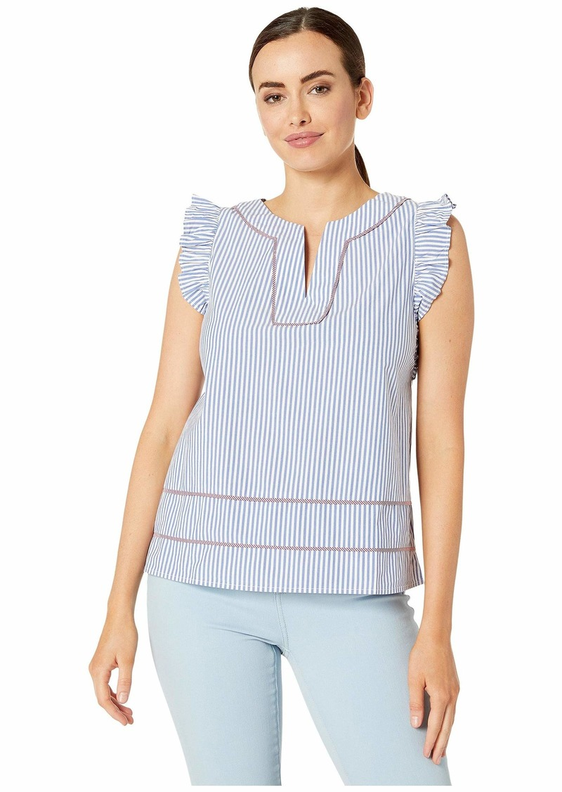 Vineyard Vines Feeder Striped Flutter Sleeve Top