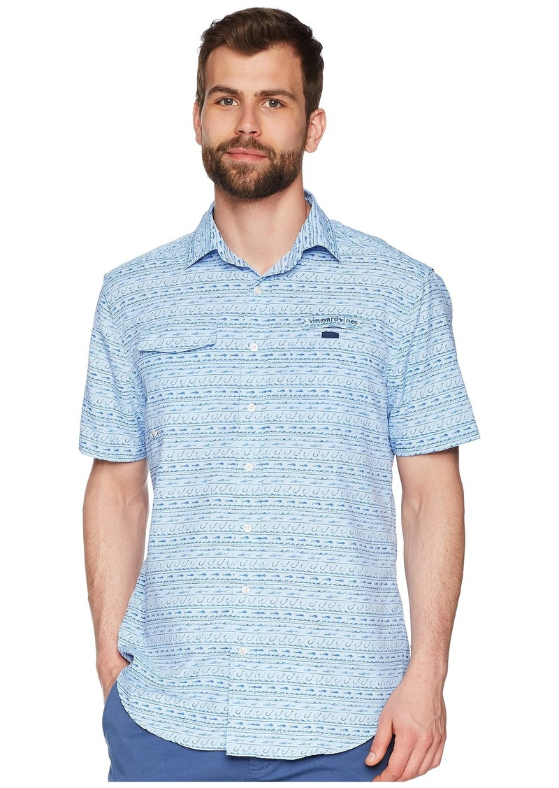 Vineyard Vines Fish Hook Wave Short Sleeve Harbor Shirt