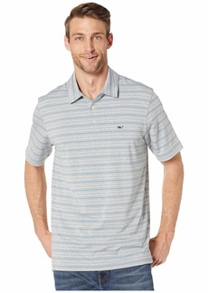 Vineyard Vines Heathered Port Stripe Sankaty Polo