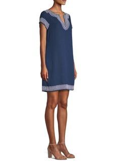 Vineyard Vines Jacquard Linen-Blend Tunic Shift Dress