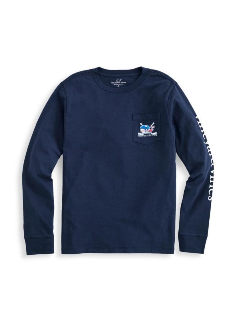 Vineyard Vines Little Boy's & Boy's Long-Sleeve Whale Hockey Sticks Pocket T-Shirt
