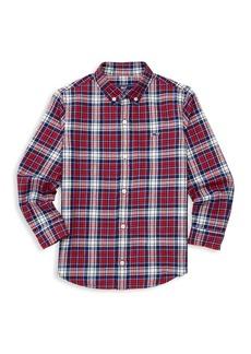 Vineyard Vines Little Boy's & Boy's Tower Ridge Cotton Flannel Whale Shirt