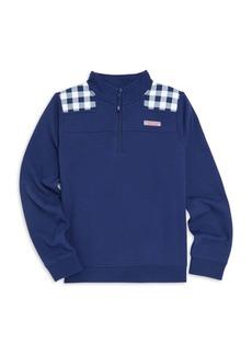 Vineyard Vines Little Girl's & Girl's Gingham Quarter-Zip Sweater
