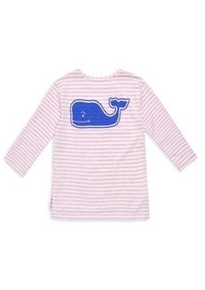Vineyard Vines Little Girl's & Girl's Long Sleeve Stripe Whale T-Shirt