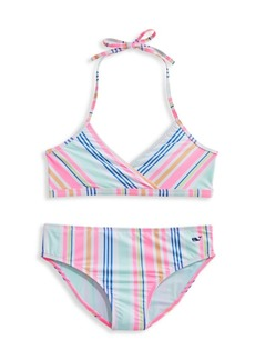 Vineyard Vines Little Girl's & Girl's Sea Spray Stripe 2-Piece Bikini Set