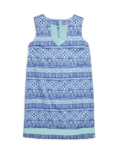 Vineyard Vines Little Girl's & Girl's Shell-Print Stripe Shift Dress
