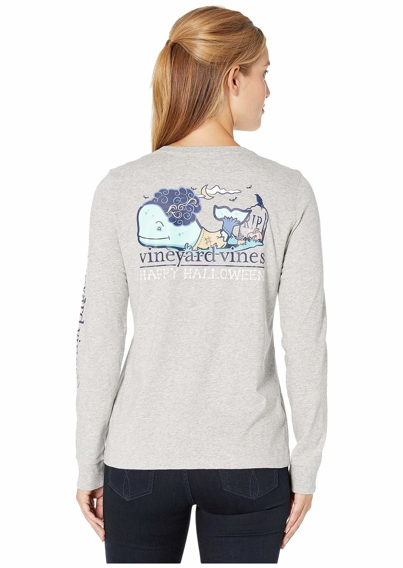 Vineyard Vines Long Sleeve Halloween Zombie Whale Pocket Tee