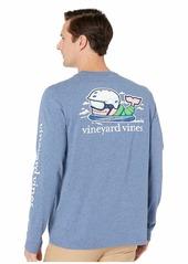 Vineyard Vines Long Sleeve Heathered Send It Whale Pocket Tee