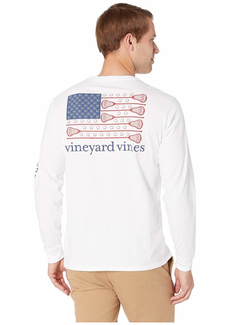 Vineyard Vines Long Sleeve Lacrosse Flag Pocket Tee
