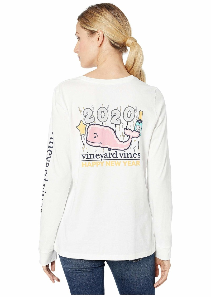 Vineyard Vines Long Sleeve New Years 2020 Whale Pocket Tee