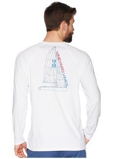 Vineyard Vines Long Sleeve Perf Raglan Blueprint Sail Tee