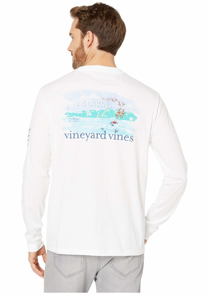 Vineyard Vines Long Sleeve Santa's On His Way Pocket Tee