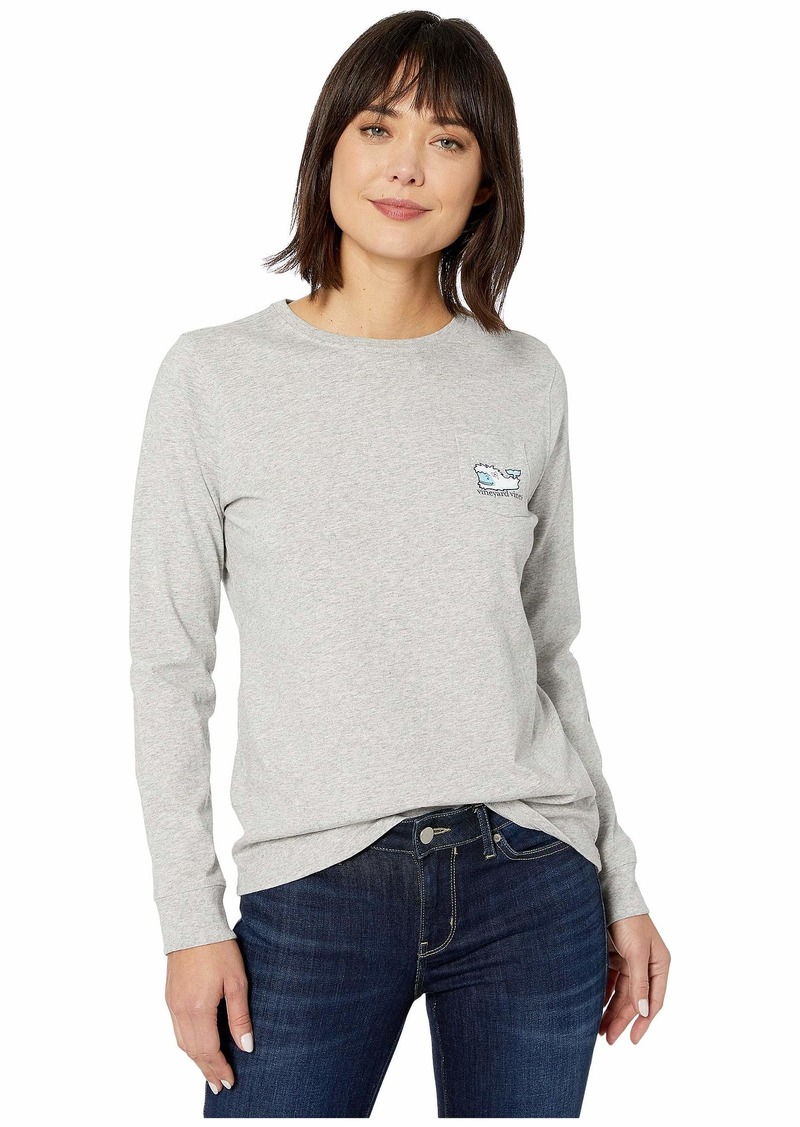 Vineyard Vines Long Sleeve Yeti Whale Pocket Tee