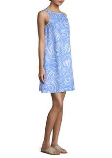 Vineyard Vines Nautulius Shell-Print Linen Swing Dress