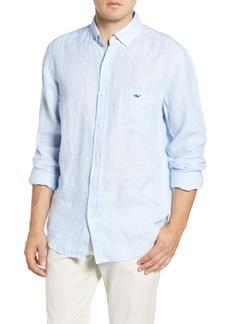 Vineyard Vines Regular Fit Stripe Linen Button-Down Sport Shirt