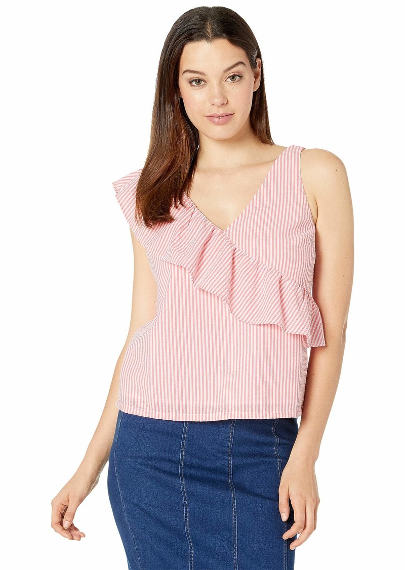 Vineyard Vines Seersucker Ruffle Shoulder Top