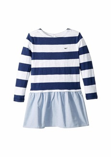 Vineyard Vines Stripe Oxford Sweatshirt Dress (Toddler/Little Kids/Big Kids)
