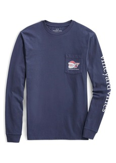 vineyard vines 2020 Classic Santa Whale Long Sleeve Pocket Graphic Tee