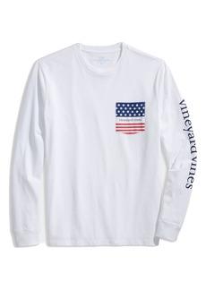 vineyard vines American Flag Logo Long Sleeve Pocket Graphic Tee