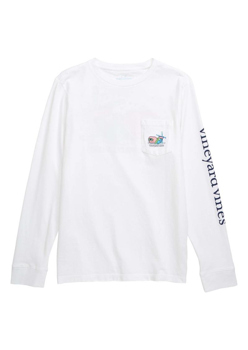vineyard vines Apres Ski Bro Whale Long Sleeve Pocket T-Shirt (Toddler Boys & Little Boys)