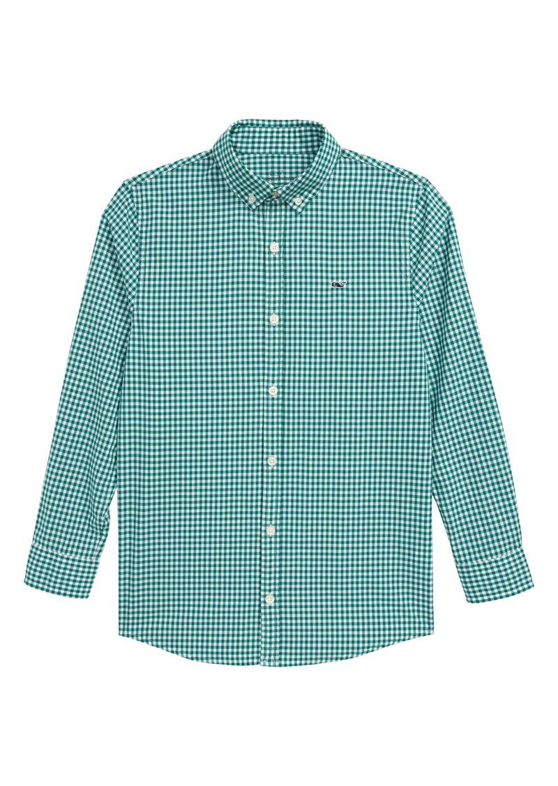 vineyard vines Arawak Gingham Whale Button-Up Shirt (Big Boys)