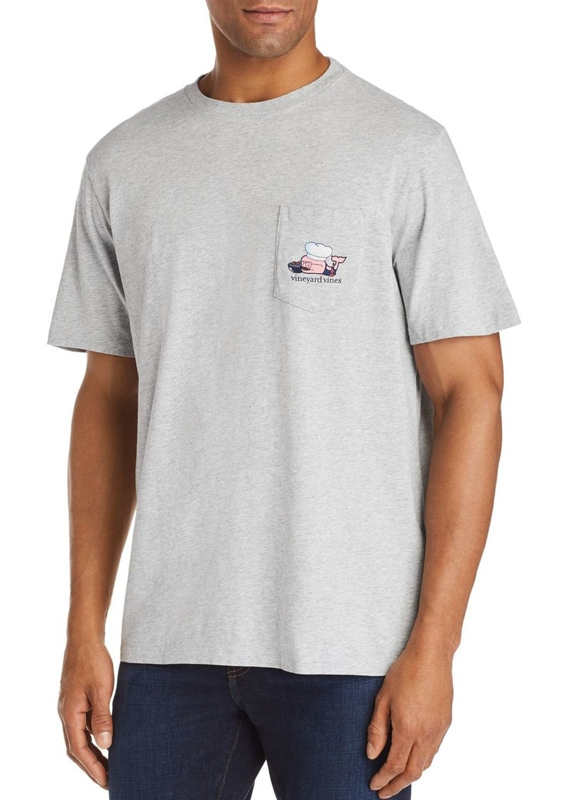 Vineyard Vines BBQ Whale Logo Graphic Pocket Tee