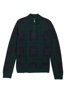 vineyard vines Black Watch Plaid Half Zip Sweater (Big Boys)