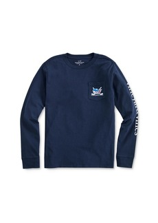 Vineyard Vines Boys' Hockey Whale Long Sleeve Pocket Tee - Little Kid, Big Kid
