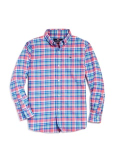 Vineyard Vines Boys' Plaid Flannel Whale Shirt - Big Kid