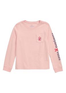 vineyard vines Breast Cancer Awareness Whale Pocket Tee (Toddler Girls, Little Girls & Big Girls)