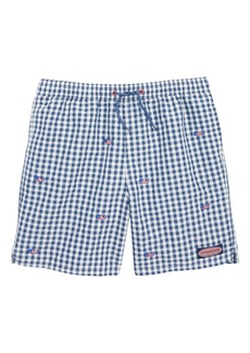 vineyard vines Chappy Gingham Flag Swim Trunks (Big Boys)