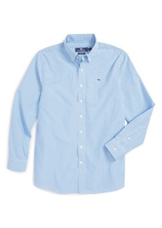 Vineyard Vines 'Classic Gingham - Whale' Long Sleeve Sport Shirt (Big Boys)