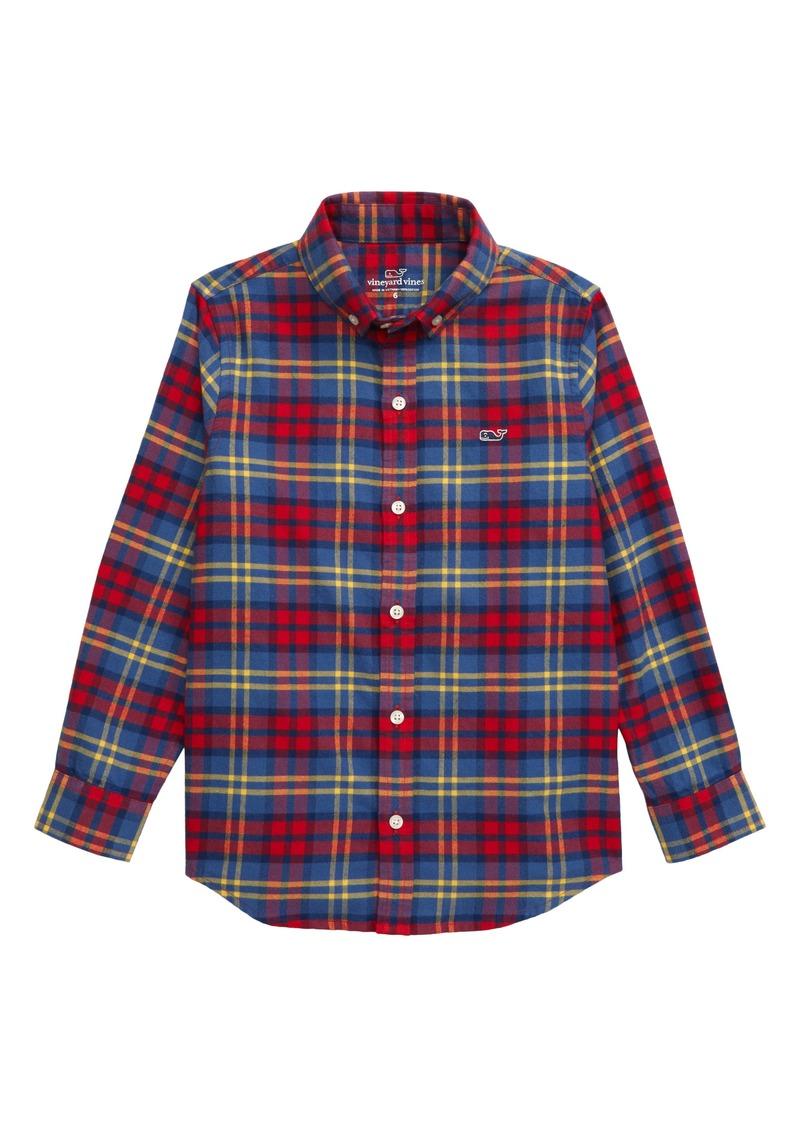 vineyard vines Classic Plaid Flannel Whale Shirt (Toddler Boys & Little Boys)