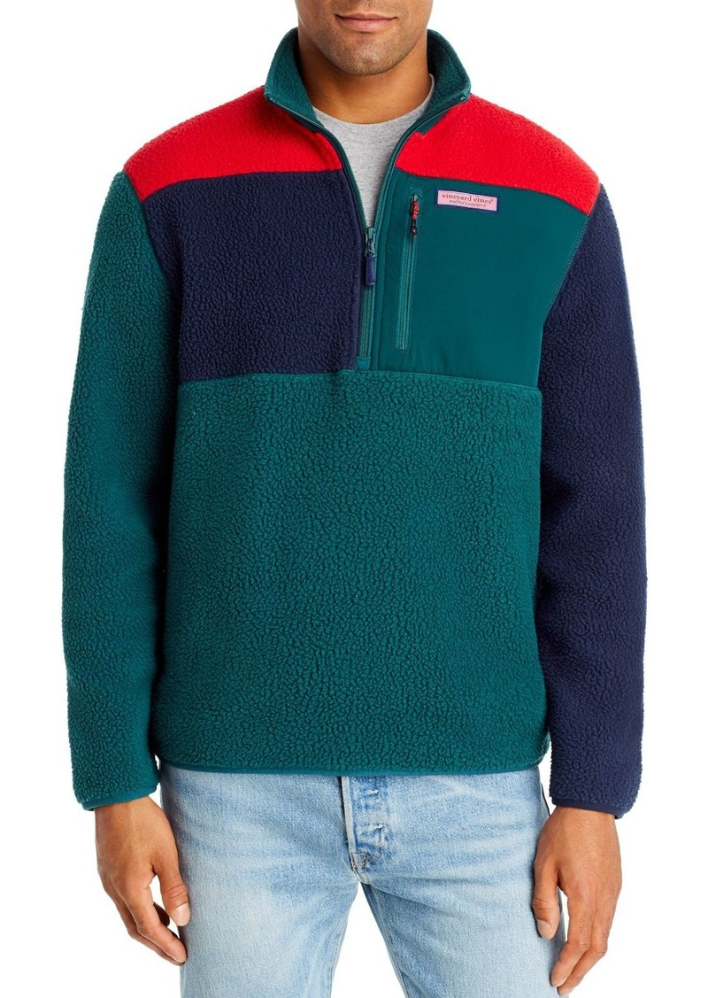 Vineyard Vines Color-Block Sherpa Half-Zip Fleece