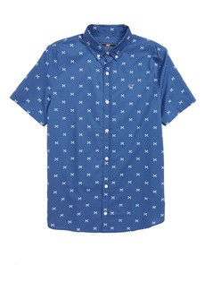 vineyard vines Crossed Fish Bone Woven Shirt (Big Boys)