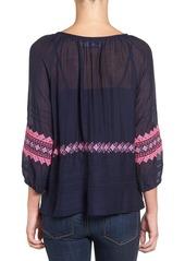 Vineyard Vines Embroidered Cotton & Silk Peasant Top