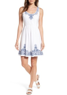 Vineyard Vines Embroidered Fit & Flare Dress