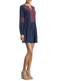 Vineyard Vines Embroidered Pintuck Cotton Mini Dress