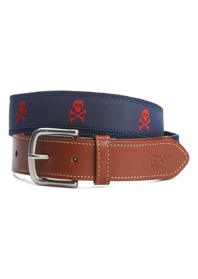 Vineyard Vines Embroidered Skull & Crossbones Belt