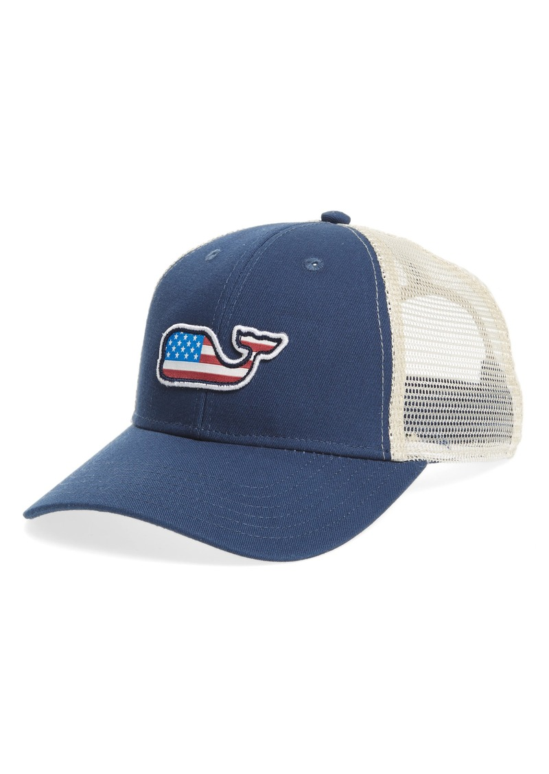 1c1dad175aa93 Vineyard Vines Vineyard Vines Flag Whale Patch Trucker Hat