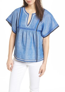 vineyard vines Geo Embroidered Chambray Top