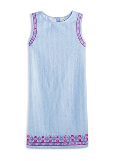 Vineyard Vines Girls' Embroidered Seersucker Dress - Big Kid